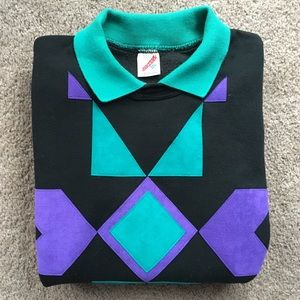 Vintage Geometric Patterned Collared Sweatshirt